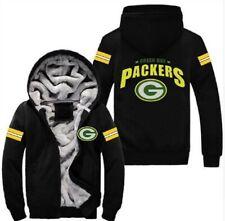 Green Bay Packers Fútbol Fan's Grueso con Capucha de Invierno con Capucha Abrigo Chaqueta cálida