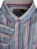 RALPH LAUREN POLO Shirt Mens 16 L Blue - Pink Yellow & White Stripes CUSTOM FIT