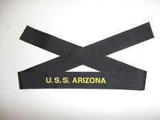 b3080 WW 2 US Navy Hat Tally U.S.S. Arizona USS Battleship BB 39 USN IR31A