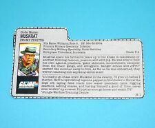 1988 GI JOE MUSKRAT v1 FILE CARD FILECARD ACTION FORCE UK HASBRO