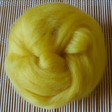 100g Merino Wool Tops 64's Dyed Fibres - Yellow - Felt Making and Spinning