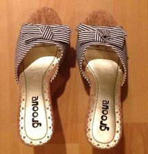 BNWT Pretty White/Black Stripe US6 Uk4 Wedge Platform Bow Heel 'Groove' Sandals