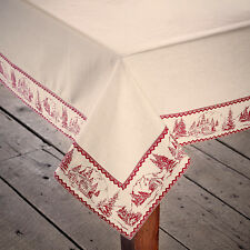 """CABIN CHRISTMAS TABLE CLOTH / TOPPER 40X40"""" RED / ANTIQUE WHITE CABIN SCENE"""