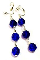 Very Long Silver Blue Clip-On Earrings Glass Beads Drop Dangle Vintage Style
