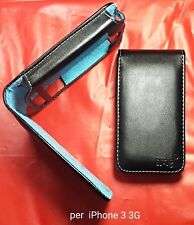 Custodia case cover FLIP COVER per iPHONE 3 3g 3gs NERA con interno NABUK BLU