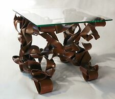 Unique Abstract Steel and Glass Ribbon End Table Sculpture