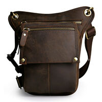 Men Leather Drop Leg Bag Motorcycle Travel Messenger Thigh Belt Waist Fanny Pack