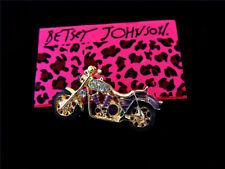 Betsey Johnson Brooch Pin Women's Crystal Purple Crystal Motorbike
