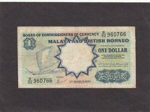 Malaya and British Borneo $1 1959 P-8A    G+/VG