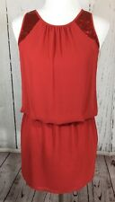 Naked Zebra Red Sequin Sleeveless Keyhole Back Dress Size Small