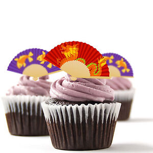 ✿ 24 Edible Rice Paper Cup Cake Toppings, decorations - Fans ✿