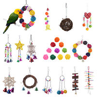 Parrot Pet Bird Chew Cages Hang Toys Wood Large Rope Bells Chewing Rattan Toys