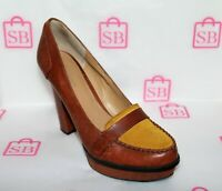 NINE WEST Brand UNMIXED Tan Sueded Leather Heels Size 7.5 LIKE NEW