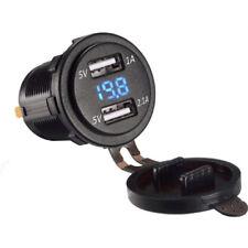 12V 4.2A Car Dual USB Charger Socket Blue LED Voltmeter Over-Charging Protection