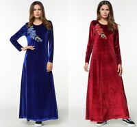 Winter Velvet Women Elegant Dress Muslim Embroidery Maxi Abaya Islamic Kaftan