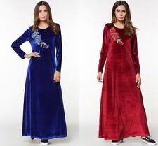 Muslim Velvet Abaya Embroidery Kaftan Long Maxi Women Dress Arab Cocktail Robes