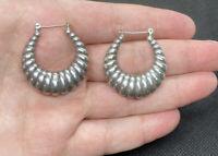 Vintage Sterling Silver Scalloped Huggie Hoop Southwestern Pierced Earrings ~8g