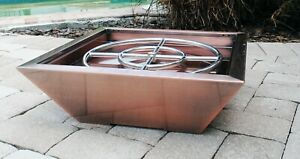 Copper Cladded Outdoor Fire Pit Bowl Firepit Backyard Column Natural Gas Propane