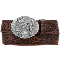 Tony Lama Western Mens Belt Leather Made in USA Tooled  Ol Chief Buckle C13704