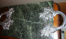 GREEN MARBLE WITH SILVER METAL LEAF DESIGN HANDLE CUTTING BOARD / CHEESET TRAY