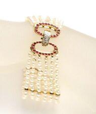 Seed Pearl 6 Strand Ruby Diamond 14k YG Bracelet - GAL Appraisal  - Gift Box