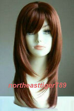 Hot Sell Fashion Long Dark Red Straight Varus Women's Lady's Hair Wig Wigs + Cap