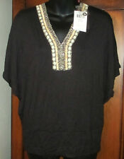 NEW Cyrus Size S Black Dolman Sleeve Top NWT Womens Small Beaded Neck