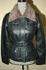 ASHLEY Black Leather Jacket Faux Fur M NEW NWT