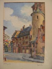 tableau aquarelle freiburg signé allemagne deutschland