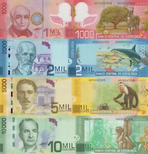 Costa Rica 4 Note Set: 1000-10000 Colones (2009/15), p274a,p275c,p276a,p277a UNC
