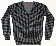 Altea Grey Black Sweater M Cashmere Wool Houndstooth V-Neck Excellent Condition