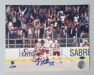 125008 Stephane Matteau Signed 8x10 Hockey Photo AUTO LEAF COA New York Rangers