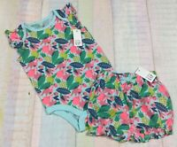 Gap Girls 6-12 Months Bright Tropical Fruit Shirt & Bloomer Shorts Outfit. Nwt