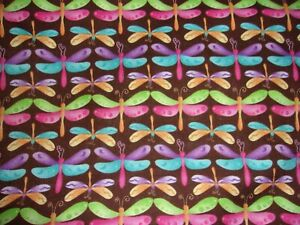 CLEARANCE 2 YARDS Dragonflies Multi Color on Brown Quilting Crafts Cotton Fabric