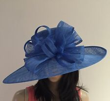 NEW LADIES COBALT BLUE SINAMAY HAT WEDDING ASCOT FORMAL MOTHER OF THE BRIDE