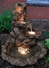 OUTDOOR ROCK WATER FOUNTAIN WITH LED FOR GARDEN DECOR YARD WATER FEATURE CASCADE