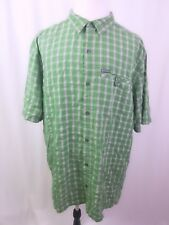 Columbia Sportswear Shirt Men's Size 2XT Tall Green Plaid SS Button Down EUC