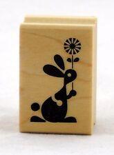 Bunny & Flower Wood Mounted Rubber Stamp Inkadinkado NEW easter spring art bloom