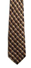 Men's New Silk Neck Tie, Classic, Brown diamond Zylos design by George Machado
