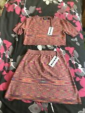 HOUSE OF HOLLAND CROP TOP AND SHORT SKIRT SET SIZE L UK14