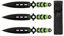 "3pc 7.5"" Steel Throwing Knife Target Set w/ Storage Case Pouch Biohazard Green"