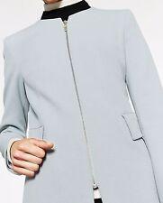 Zara Pale Grey Frock Coat Blazer Zip Front Jacket size L