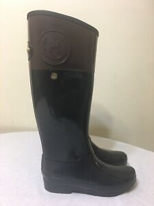 Hunter Sz 7 Womens Regent Carlyle Black and Brown Bicolor Tall Rain Boots