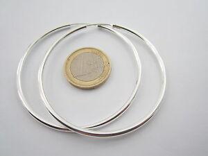 orecchini cerchio del diametro di 60 mm in argento 925 tubolare grosso di 3 mm