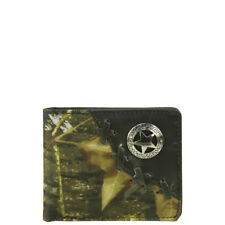 BLACK WESTERN VEGAN LEATHER CAMO STAR EMBLEM MENS BIFOLD ID WALLET WEST WOLF