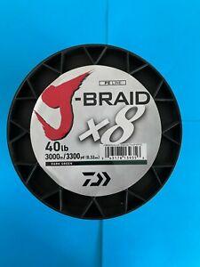 Daiwa J-Braid 3300 Yards 3000 Meters Dark Green 30 40 50 65 LB J-Braid x 8