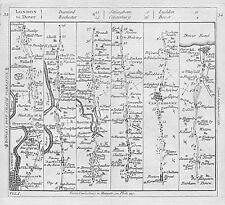 1782 Road Map London to Dover Greenwich Dartford Gravesend Rochester Canterbury