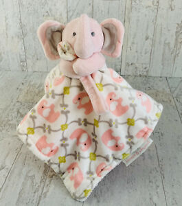 Blankets and Beyond Pink Elephant Lovey Gray Green Paci Pacifier Holder Soft