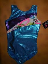 NWT BP Designs Gymnastic Tank Leotard Turquoise Foil Peace Sign Print Youth Med