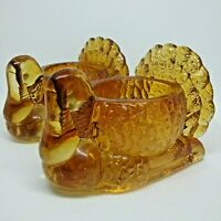 Vintage Amber Glass Turkey Toothpick Holders Set of 2 or Votive Candle Holders